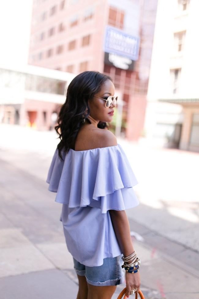 SheIn plaid ruffle off shoulder top, target aviator sunglasses, summer trend, dallas blogger, fashion blogger, black girl blogger