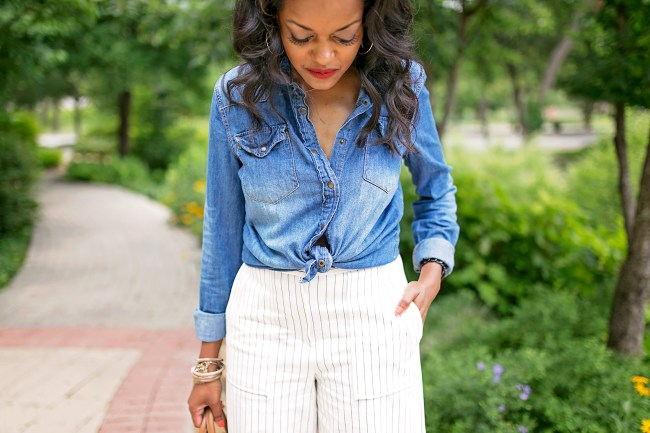 ann taylor wide leg pants, culottes, office style, what to wear to work, work wear, steve madden, denim shirt, dallas blogger, black girl blogger