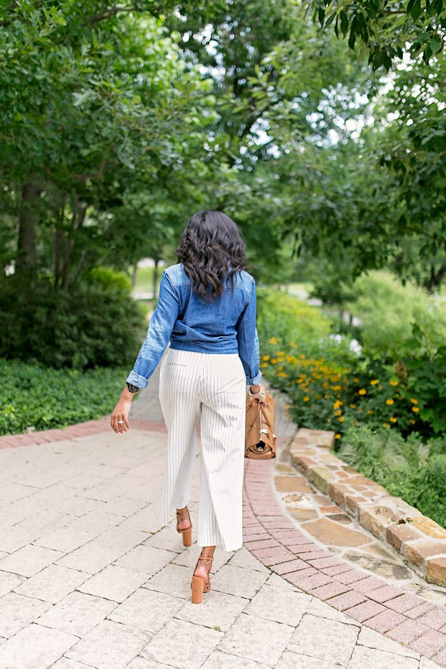 ann taylor wide leg pants, culottes, office style, what to wear to work, work wear, steve madden, denim shirt, dallas blogger