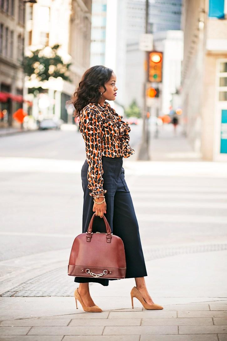 ann taylor culottes, leopard ruffle top, zara tan pumps, dallas fashion blogger, black girl fashion blogger, downtown dallas, refinery consignment