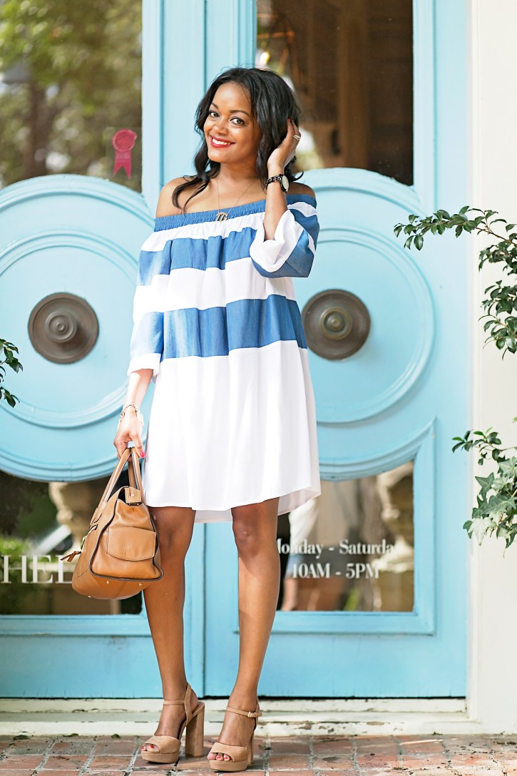 SHEIN OFF SHOULDER STRIPE DRESS, off shoulder dresses, STEVE MADDEN KIERRA, NUDE PLATFORMS, OFF SHOULDER DRESS, DALLAS BLOGGER, BLACK FASHION BLOGGER