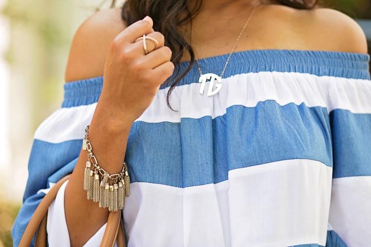 sheIn off shoulder dress, off shoulder dresses, monogram necklace, off shoulder trend, dallas blogger, fashion blogger, black fashion blogger, tory burch handbag