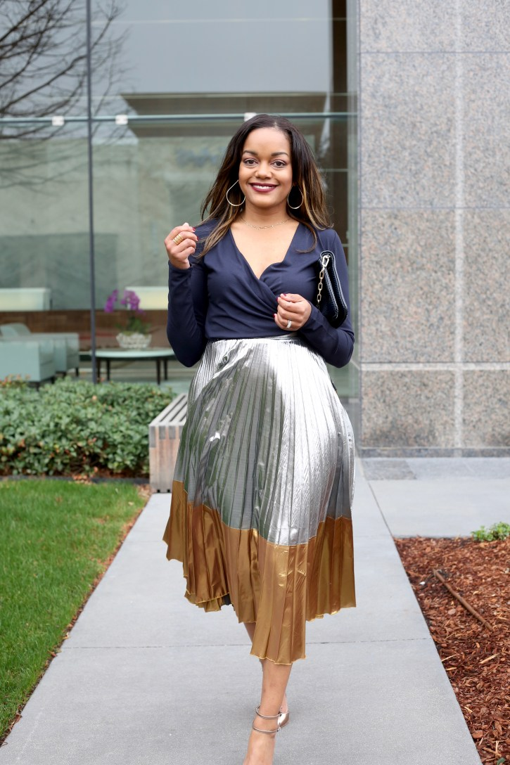 asos metallic pleated skirt, pleated midi skirt, midi skirt trend, how to wear midi skirt, black fashion blogger, dallas fashion blogger, 2016 fashion trends