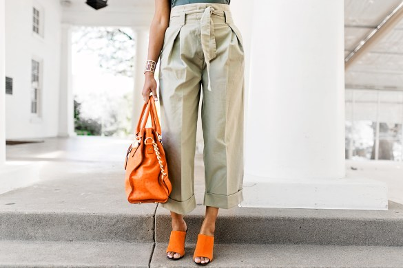 highwaisted pants, paperbag pants, bobbi brown sunglasses, michael kors hamilton bag, zara mules, how to wear paperbag pants