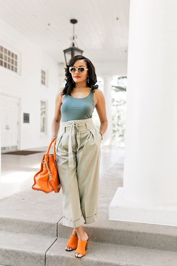 high waisted pants, paperbag pants, bobbi brown sunglasses, michael kors hamilton bag, zara mules, how to wear paperbag pants