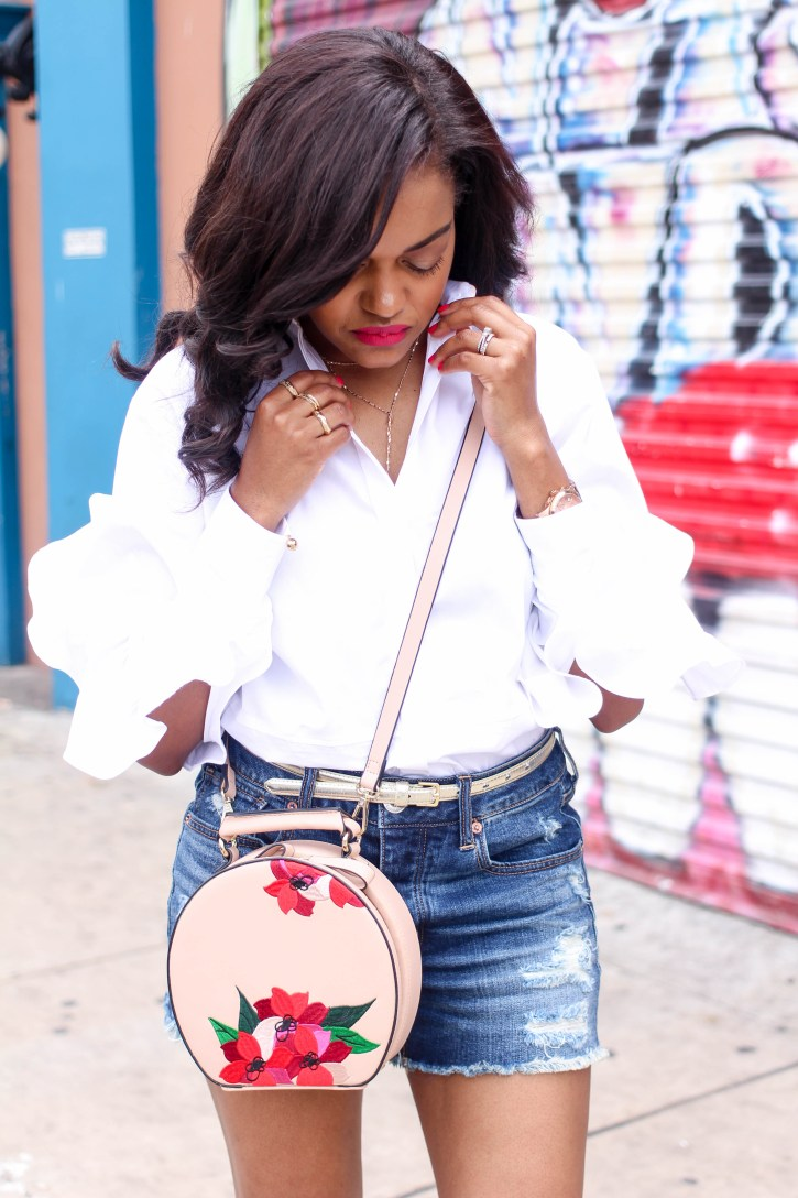 ruffle sleeve shirt, zara floral oval bag, valentino rockstud look for less, what to wear to brunch, blouse and shorts outfit, american eagle tomgirl shorts, age appropriate shorts, dallas brunch, dallas blogger, black fashion blogger