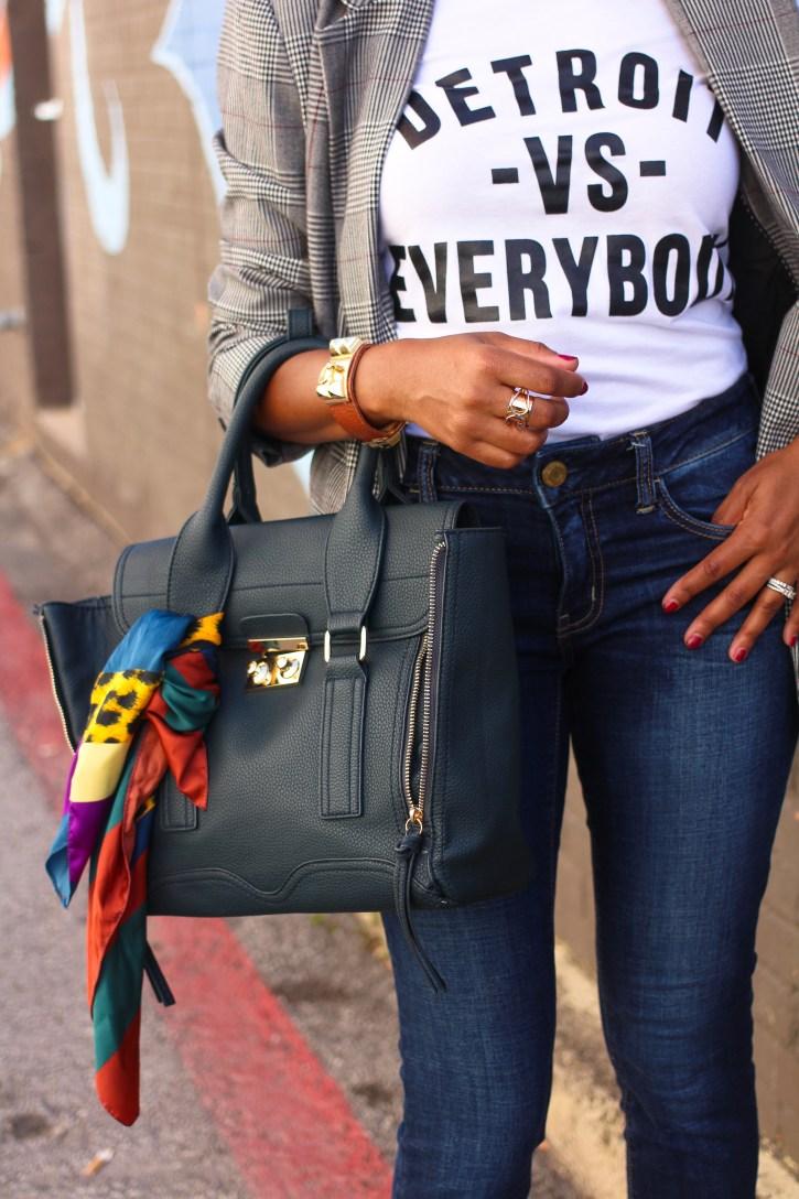 plaid blazer, a new day plaid blazer, affordable plaid blazers, fall fashion trend 2017, fall trend plaid blazer, detroit vs everybody t-shirt, plaid blazer outfit, dolce vita mules, gold mules, zara scarf, scarf tied on handbag, dallas blogger, fashion blogger, black fashion blogger