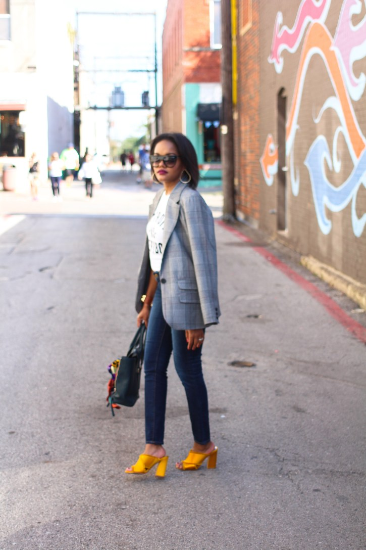 plaid blazer, a new day plaid blazer, affordable plaid blazers, fall fashion trend 2017, fall trend plaid blazer, detroit vs everybody t-shirt, plaid blazer outfit, dolce vita mules, gold mules, zara scarf, scarf tied on handbag, dallas blogger, fashion blogger, black fashion blogger