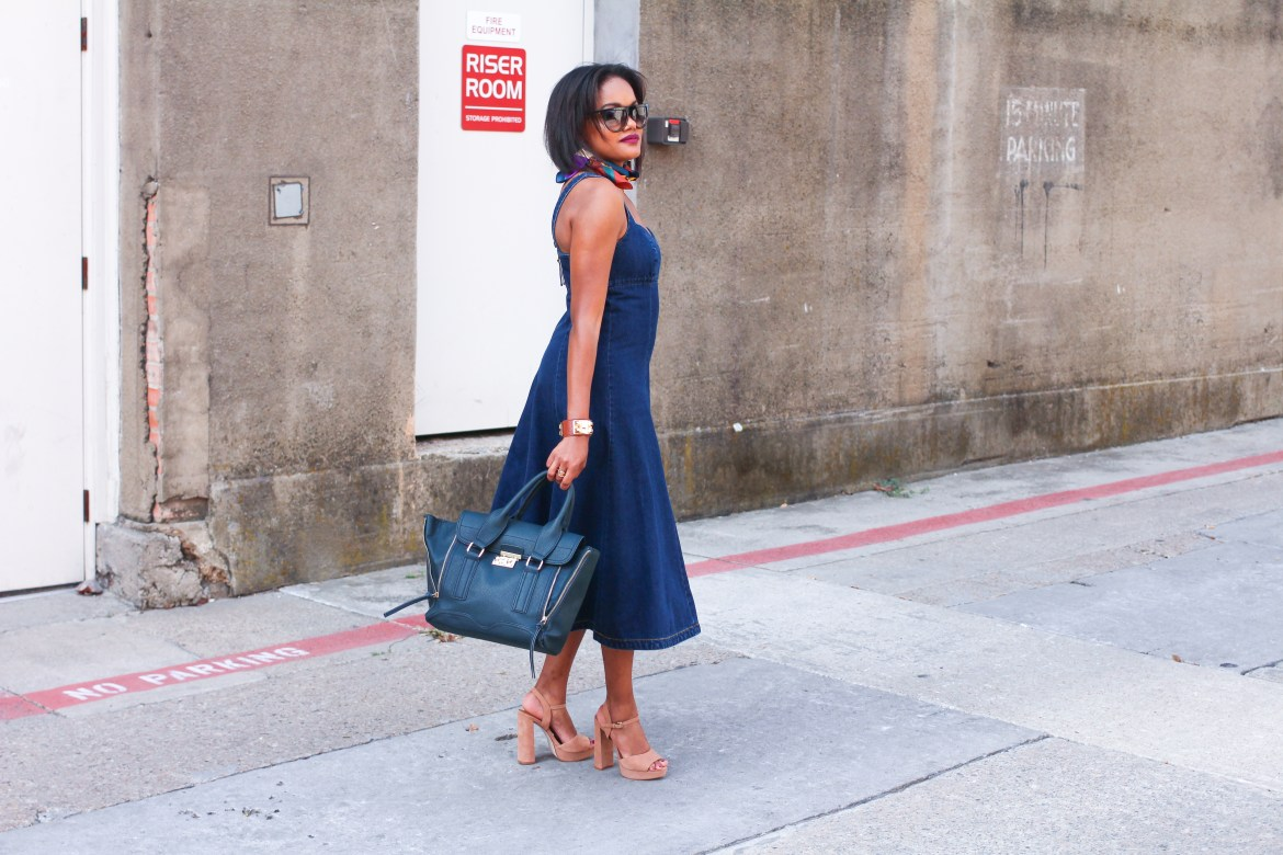 denim dress, denim midi dress, anthropologie dress, fall midi dress, transitional dresses, zara scarf, celine dupe sunglasses, henri bendel sunglasses, fall dresses, how to wear denim dress, fashion blogger, black fashion blogger, dallas blogger