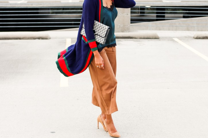 gucci dupe cardigan, striped cardigan, color block v neck cardigan, cardigan and culottes outfit, culottes outfit, fall outfit, how to wear long cardigan, gucci inspired, dallas blogger, black dallas blogger, black fashion blogger