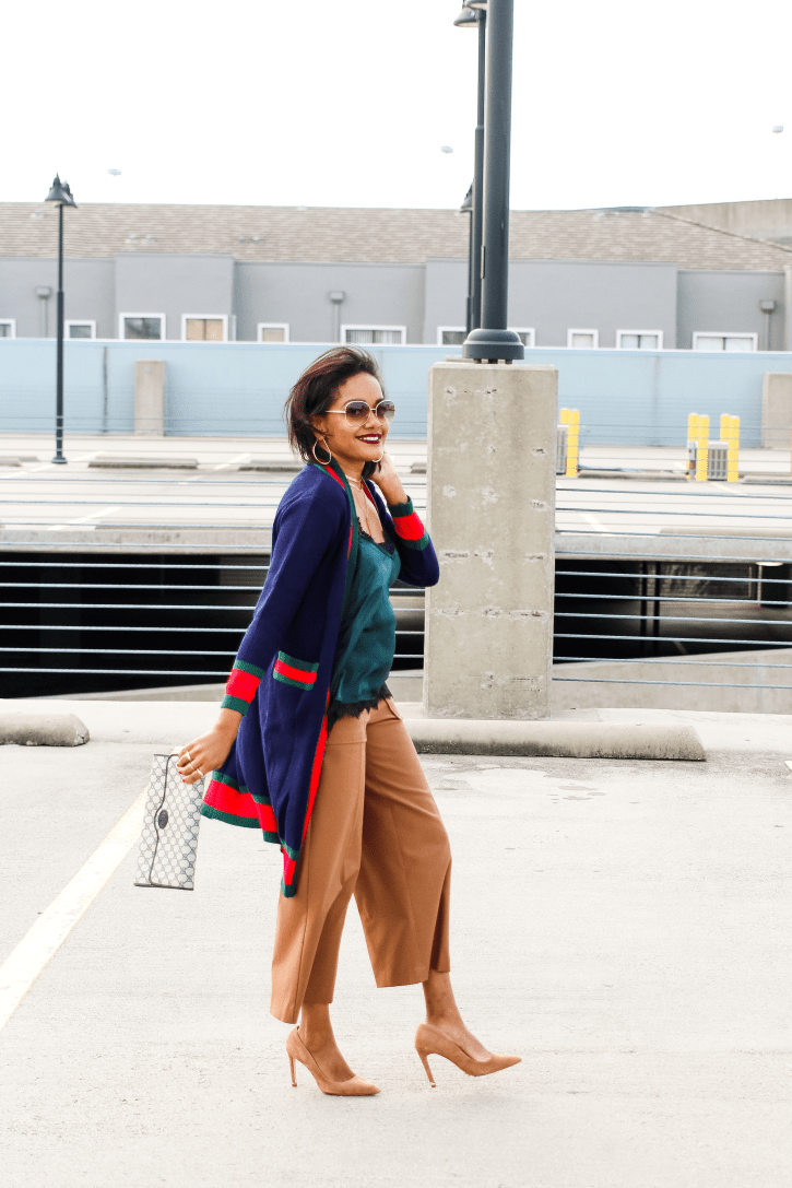 blogger consultation, gucci dupe cardigan, striped cardigan, color block v neck cardigan, cardigan and culottes outfit, culottes outfit, fall outfit, how to wear long cardigan, gucci inspired, dallas blogger, black dallas blogger, black fashion blogger