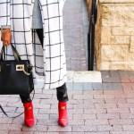 Shein, Plaid Coat, black and white coat, affordable coat, affordable outerwear, leather leggings, henri bendel handbag, winter fashion, winter style, dallas blogger, black fashion blogger