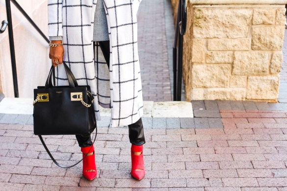 Shein, Plaid Coat, black and white coat, affordable coat, affordable outerwear, leather leggings, henri bendel handbag, winter fashion, winter style, dallas blogger, black fashion blogger