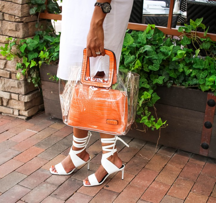 clear handbag, white summer dress, white shirtdress outfit, white shirtdress outfit inspo, summer dress outfit inspo, white lace up zara sandals, clear bag trend, vinyl bag trend, affordable clear bag, affordable vinyl bag, how to wear vinyl bag trend, dallas blogger, black fashion blogger, black dallas blogger
