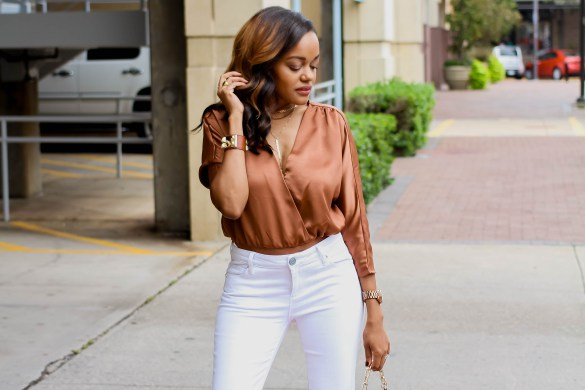 camel and white outfit, how to wear white in fall, rust satin bodysuit, fall outfit inspo, white flare jeans, dallas blogger, fashion black blogger, dallas blogger