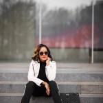mango leather jacket, white leather jacket, black & white outfit, black & white chic, red leather booties, charles david poca booties, who what wear stripe pants, dallas blogger