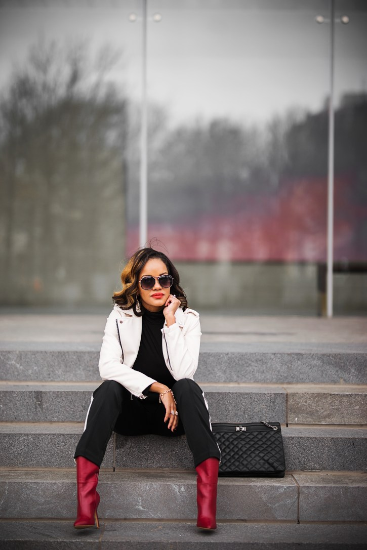 mango leather jacket, white leather jacket, black & white outfit, black & white chic, red leather booties, charles david poca booties, who what wear stripe pants, dallas blogger