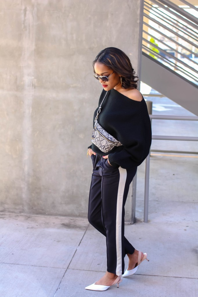 fanny pack, snakeskin fanny pack, belt bag, snakeskin belt bag, mango belt bag, how to wear a belt bag, fanny pack outfit, side stripe pants outfit, dallas fashion blogger, black fashion blogger, fanny pack outfit inspo, belt bag outfit inspo