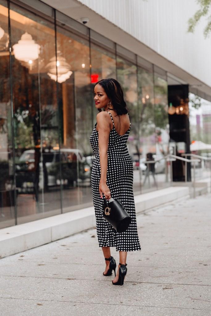 black & white slip dress, polka dot slip dress, zara polka dot slip dress, how to wear a slip dress, slip dress street style, slip dress outfit inspo, spring dress inspo, affordable slip dresses, black fashion blogger, dallas fashion blogger, dallas blogger