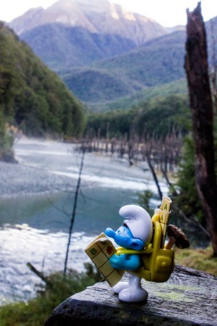 Hefty Smurf looks over Greenstone River