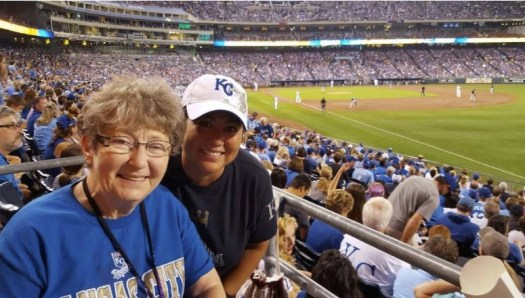 On Sept. 24, Jen Moss (right) took Jody Wooton to Kauffman Stadium, where they cheered as the Royals beat the Seattle Mariners 10-4 to clinch the American League Central Division on their way to winning the World Series. Both kept a copy of this photo.