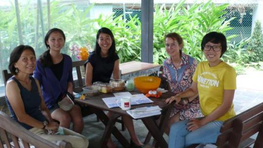 Jaki and NODA volunteers catch up to celebrate Jenny's memory.