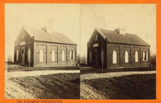 A stereoscope view of Lancaster Crematorium, Pennsylvania.