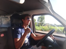 Mike behind the wheel