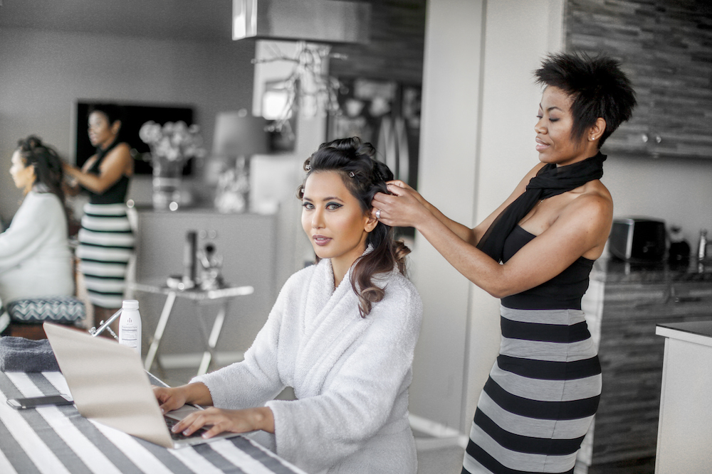 Woman Getting Hair done