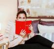 beauty model reading book
