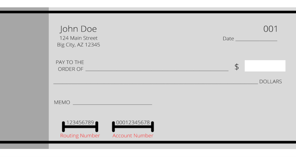 routing number example on check