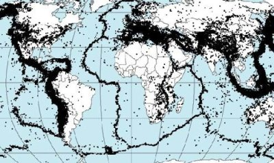 The majority of tectonic earthquakes originate at the ring of fire in depths not exceeding tens of kilometers.