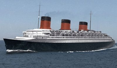 83,000 tons, 1,029 feet, considered the most beautiful Atlantic liner of them all.