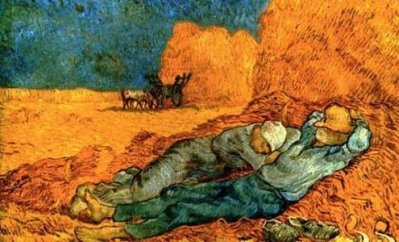 """Detail from Van Gogh's """"Noon: Rest From Work (After Millet),"""" 1890"""