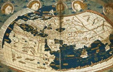 An early world map, which saw the wind as god-driven.