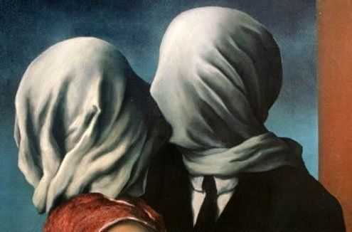 """Detail from Magritte's """"The Lovers,"""" 1928."""
