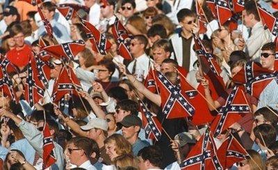 Confederate flags in Vaught-Hemingway Stadium for a 1997 Mississippi-Vanderbilt game.