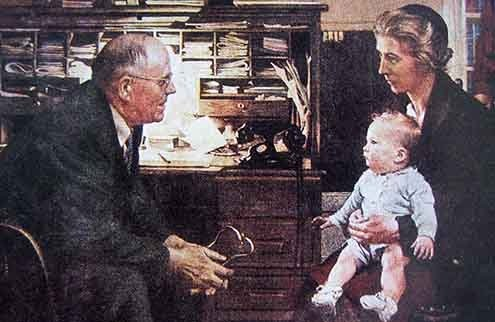 """Norman Rockwell's """"The Country Doctor."""""""