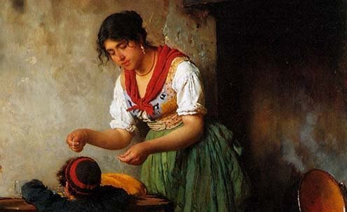 Detail from a painting by Eugene de Blaas.