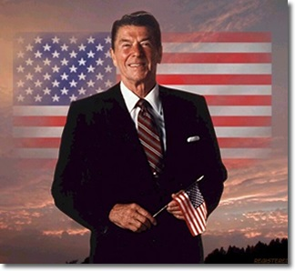 On his knees … Ronald Reagan