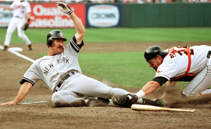 Wade Boggs tagged out at home in 96