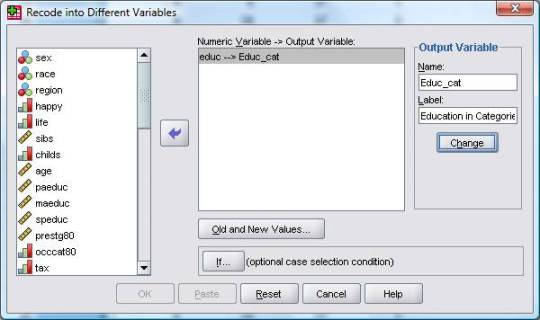 Recoding Variables in SPSS Menus and Syntax - The Analysis Factor