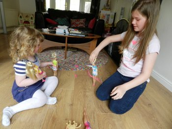 barbie, playing together