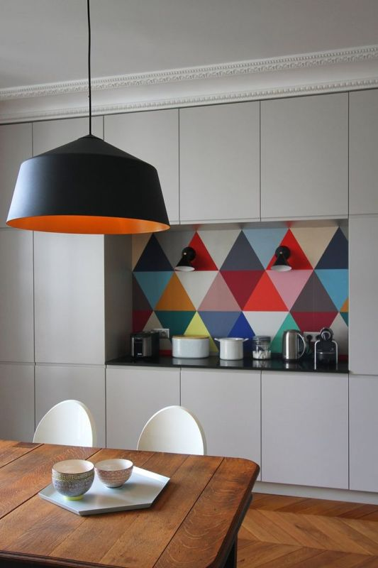 modern kitchen details in the paintwork