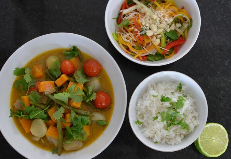 Thai rice, thai green curry thai green salad 3