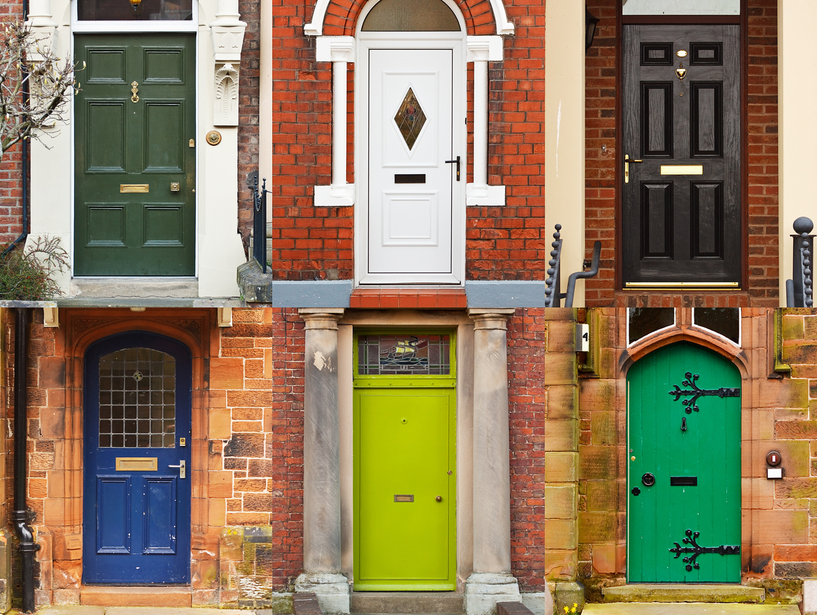 A selection of residential front doors good for estate agents and symbolising opening new doors
