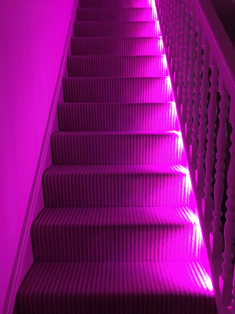 philips hue lighting stairs pink