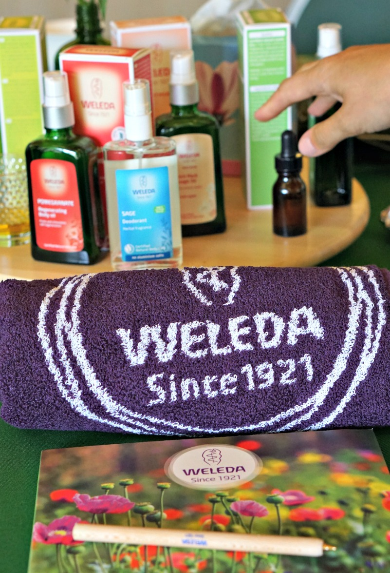 Weleda choosing the oil we wanted for the arm massage