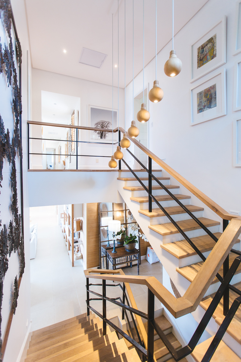 modern staircase with full turn open handrail new build house