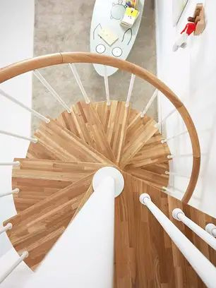 metal and wood spiral staircases